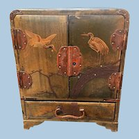 Antique Chinese MIniature Cabinet Jewelry Chest