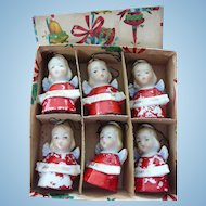 Wonderful Set of Six Porcelain Christmas Angel Bells in Original Box