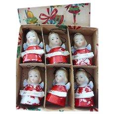 Wonderful Set of Six Porcelain Christmas Angel Bells in Original Box