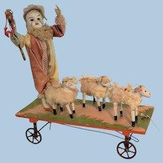 Clown Doll Sheepherder Automaton Pull Toy