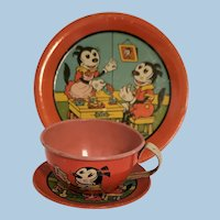 Early Mickey Mouse Tin Place Setting
