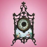 Very Ornate Porcelain Enamel Portrait Clock