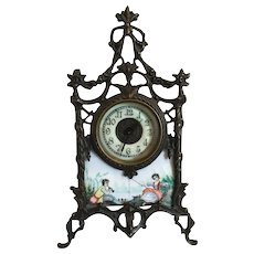 Very Ornate Porcelain Enamel Portrait Clock