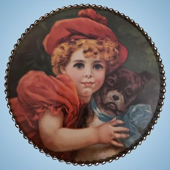 Little Girl & Dog Flue Cover Hanging Picture