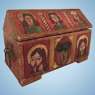 Early Antique Handpainted Folk Art Religious Icons Miniature Chest