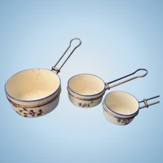 Miniature Doll Size French Porcelain Pans