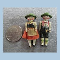 Pair of Adorable Erzgebirge or Grodnertal Peg Wooden Dolls