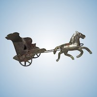 Horse Pulling Chariot Old Tin Toy