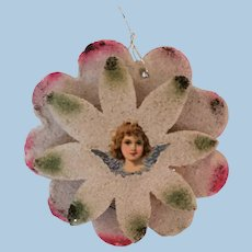 Mica Christmas Tree Ornament with Little Angel Scrap