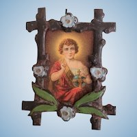 Miniature Metal Painted Picture Frame with Saint Lithograph
