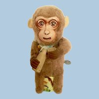 Vintage Monkey Drinking Tin Litho Windup Toy