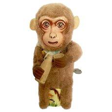 Vintage Monkey Drinking Tin Litho Windup Toy