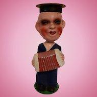 Vintage Paper Mache Bobblehead Navy Man