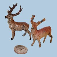 Miniature Pair Cast Metal Reindeer