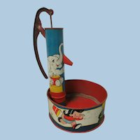 Vintage Sand Toy Pump Tin Lithograph
