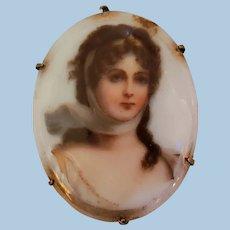 Queen Louis Porcelain Portrait Brooch Pin