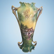 R.S. Prussia Royal Vienna Cottage Scene Vase