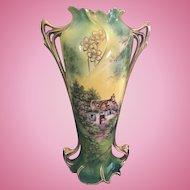 R.S. Prussia Royal Vienna Cottage Scene Vase