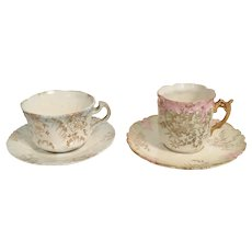 Pair of Early R.S. Prussia Teacups & Saucers