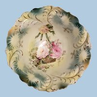 R.S. Prussia  Plume Mold Footed Bowl
