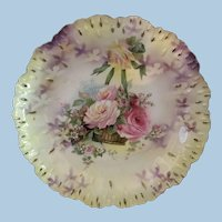 R.S. Prussia Lovely Mold Plate with Hanging Basket Scene