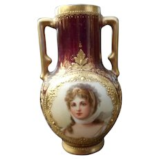 Gorgeous Royal Vienna Miniature Vase Queen Louise of Prussia