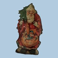 Tin Lithograph Santa Claus Christmas Tree Clip