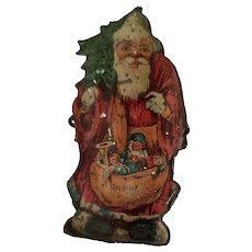Tin Lithograph Santa Claus Christmas Tree Clip