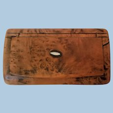 Folk Art Hand Carved Burled Wood Snuff Box