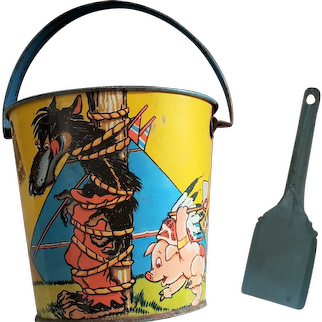 Disney's Three Little Pigs and  Big Bad Wolf Sand Pail
