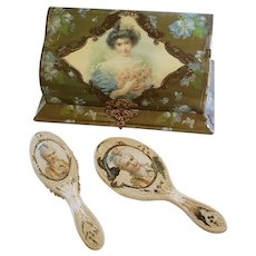 Portrait Dresser Box Mirror and Brush
