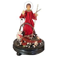 Devotional Religious Saint Figure Reliquary Under Glass Dome