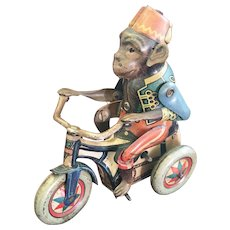 Vintage German Tin Windup Monkey on Tricycle