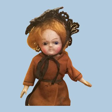 Very Old Wooden Glass Eyed Doll
