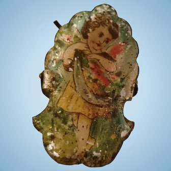 Very Old Tin Angel Christmas Tree Candle Clip