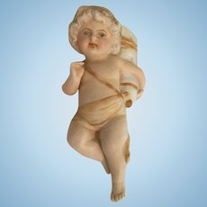 Cherub Oil Lamp Bisque Match Holder Swinger