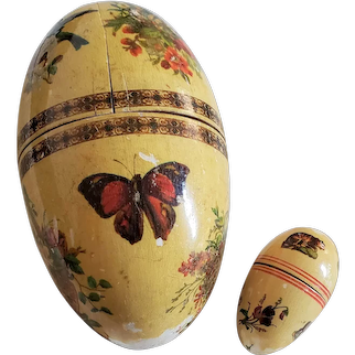 Large Wooden Egg and Small Nesting Sewing Egg