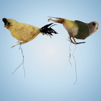 Pair of Spun Cotton Vintage Birds