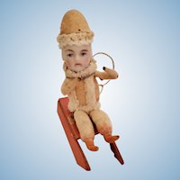 Bisque Head Doll Christmas Ornament