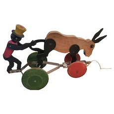 Black Man and Donkey Pull Toy