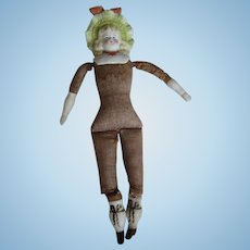 Bisque Bonnet Head Shoulder Plate Antique Doll