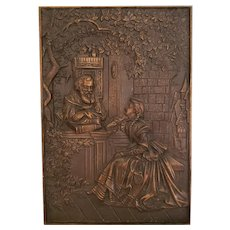 Beautiful Bronze Raised Relief Plaque with Man and Woman