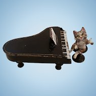 Miniature Vienna Bronze Cat Playing Piano