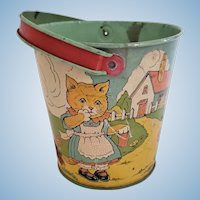 Chein Tin Miniature Sand Pail with Kittens