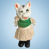 Paper Mache Old Cat Doll Bouncy Figure