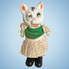 Paper Mache Old Cat Doll Bouncy Figure