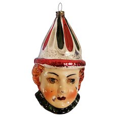 Mercury Glass Clown Face Christmas Ornament