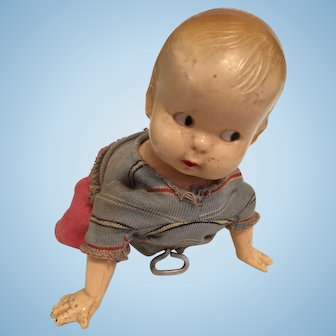 Vintage Windup Crawling Baby Doll