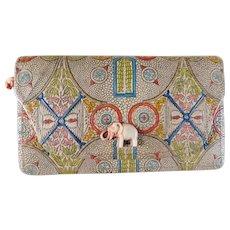 cb22cc69ccfa Art Deco Tooled Leather Clutch Purse with Elephant Snap Closure