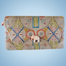 Art Deco Tooled Leather Clutch Purse with Elephant Snap Closure